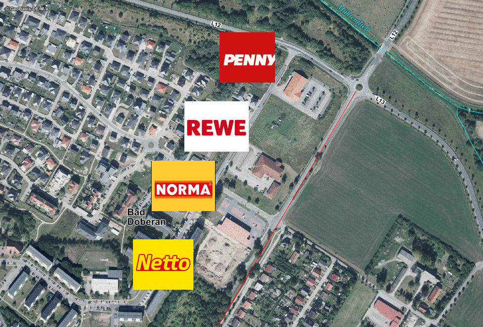 Einkaufsstraße Nienhäger Chaussee: PENNY und NORMA sind schon da, NETTO und REWE wollen bauen.