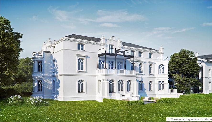 Visualisierung der Planung der Villa Schwan in Heiligendamm von vorn